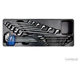 Zestaw 21cz.-klucze płaskie 6cz. 6-24mm, klucze oczkowe odgięte 75* 6cz. 8-19mm, imbusy 9 szt.1120 hex z kul