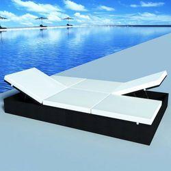 Vidaxl dwuosobowy leżak z poduszką 194x120 cm, polirattan, czarny