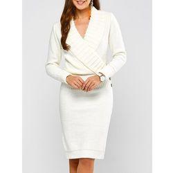 Shawl Collar Long Sleeve Sweater Dress