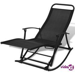 vidaXL Ogrodowy fotel bujany, składany, czarny (8718475970484)