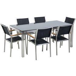 Stół szklany czarny - 180 cm - z 6 czarnymi krzesłami - GROSSETO