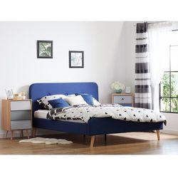 Łóżko granatowe - 160x200 cm - łóżko tapicerowane - RENNES (7081457192503)