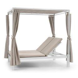 eremitage double sunbed, łóżko do opalania 2-osobowe, rama stalowa dach przeciwsłoneczny zasłony kremowy marki Blumfeldt