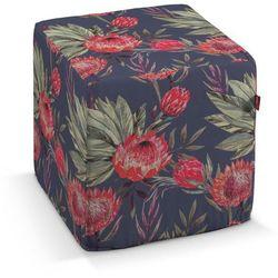 Dekoria Pufa kostka twarda, czerwone kwiaty na czarnym tle, 40x40x40 cm, New Art