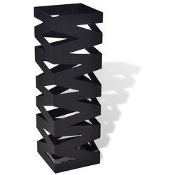 metalowy, kwadratowy, czarny stojak na parasole, kijki, laski 48,5 cm marki Vidaxl