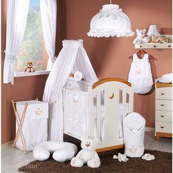 MAMO-TATO Pościel 5-el haft Miś w hamaku w bieli do łóżeczka 60x120cm - tkanina
