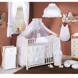 pościel 14-el miś na chmurce w bieli do łóżeczka 60x120cm - moskitiera marki Mamo-tato