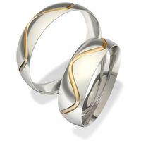 Obrączki ślubne z stali nierdzewnej łączone z 14ct złotem 7042 ()