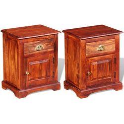 Vidaxl szafka nocna z drewna różanego sheesham 40 x 30 50 cm, 2 szt.