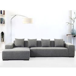 Sofa ciemnoszara - sofa narożna r - tapicerowana - lungo wyprodukowany przez Beliani