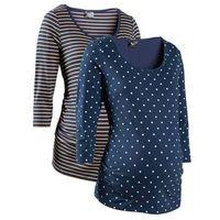 Shirt ciążowy biznesowy (2 szt.), bawełna organiczna  ciemnoniebieski w groszki + w paski, Bonprix, 32-54