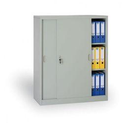 Metalowa szafa z przesuwnymi drzwiami, 1200 x 1000 x 450 mm, jasnoszary