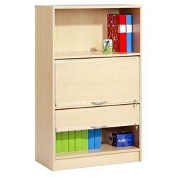 Szafka z laminatu brzozowego z 3 półkami i 2 żaluzjami. Okucia aluminium z kategorii szafy i witryny