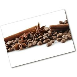 Deska kuchenna duża szklana Ziarna kawy cynamon
