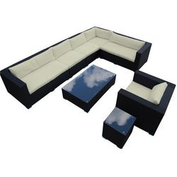 Zestaw mebli ogrodowych czarny technorattan, poduszki ecru, T063 BK/LB