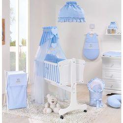 Mamo-tato 13-el kołyska + materac + pościel haftowana do kołyski 40x90 cm - pokoik błękitny
