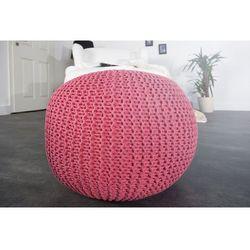 INTERIOR SPACE:: Puf Knitted Ball - fuksja?50cm - fuksja, kolor różowy