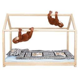 Łóżko domek 160x80cm drewniane łóżeczko dla dziecka ze stelażem (5907719420288)