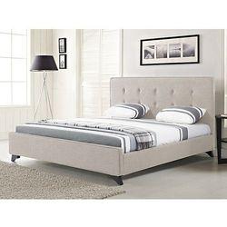 Nowoczesne łóżko tapicerowane ze stelażem 140x200 cm beżowe ambassador wyprodukowany przez Beliani