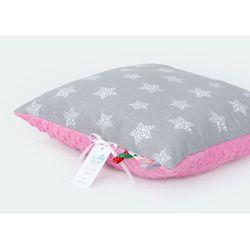 poduszka minky dwustronna 40x60 gwiazdki bąbelkowe białe duże / róż marki Mamo-tato