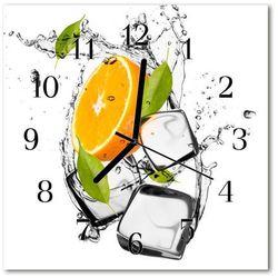 Tulup.pl Zegar szklany kwadratowy lody pomarańczowe