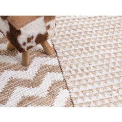 Dywan beżowy - 80x150 cm - poliester - bawełna - juta - tunceli marki Beliani