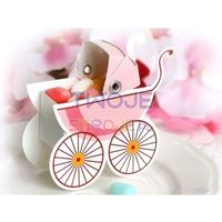 Twojestroje.pl Pudełeczka papierowe wózeczek różowy 10 szt. (5901157432261)