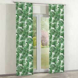 zasłony panelowe 2 szt., zielone liście na białym tle, 60 × 260 cm, urban jungle marki Dekoria