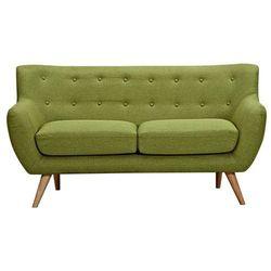 Sofa 2-osobowa z tkaniny serti - soczysta zieleń z dopasowanymi dekoracyjnymi guzikami marki Vente-unique