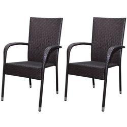 krzesła polirattanowe, jadalniane x2 brąz od producenta Vidaxl