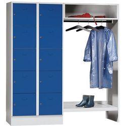 System garderob ze schowkami, 10 przedziałów po lewej stronie, 10 wieszaków na u