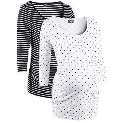 Shirt ciążowy biznesowy (2 szt.), bawełna organiczna bonprix biały w groszki + w paski z kategorii Blu
