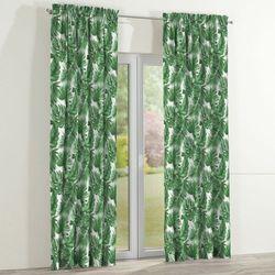 zasłona na kanale z grzywką 1 szt., zielone liście na białym tle, 1szt 130x260 cm, urban jungle marki Dekoria
