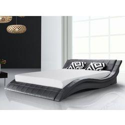Lózko skórzane 180x200 cm w kolorze czarnym - ze stelazem - VICHY - produkt z kategorii- łóżka