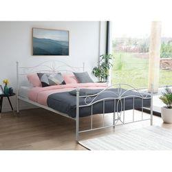 Łóżko białe - 160 x 200 cm - metalowe - ze stelażem - antlia marki Beliani