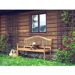 Beliani Ławka ogrodowa brązowa drewniana rozkładanym stolikiem - hilo