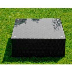 Stolik ogrodowy Ala z technorattanu czarny, kolor czarny