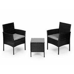 Meble ogrodowe, zestaw kawowy, stół, dwa krzesła, ratan, czarny marki Modernhome