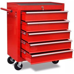Czerwony wózek narzędziowy/warsztatowy z 5 szufladami marki Vidaxl