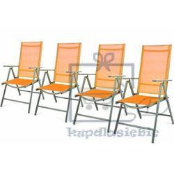 Garthen Komplet 4 krzesła aluminiowe rozkładane ogrodowe pomarańczowe (4025379981787)