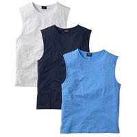 Shirt bez rękawów (3 szt.) Regular Fit bonprix niebieski + biały + ciemnoniebieski