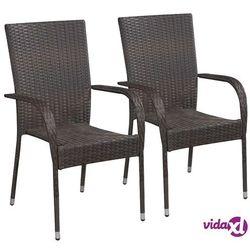 sztaplowane krzesła ogrodowe, 2 szt., polirattan, brązowe marki Vidaxl