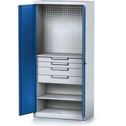 B2b partner Szafa warsztatowa mechanic, 1950 x 920 x 500 mm, 2 półki, 4 szuflady, niebieskie drzwi