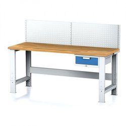 Stół warsztatowy MECHANIC z nadstawką, 2000x700x700-1055 mm, nogi regulowane, 1x 1 szufladowy kontener, szary/niebieski