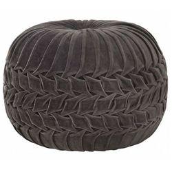 Szara okrągła pufa tapicerowana - sativ marki Elior