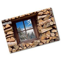 Deska kuchenna szklana zima za oknem architektura marki Wallmuralia.pl
