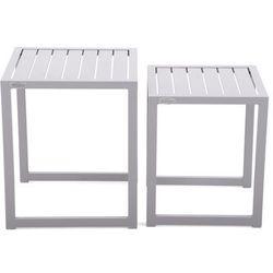 Home & garden Zestaw stolików aluminiowych cuba silver (5902425326978)