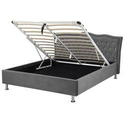 Łóżko welur ciemnoszare schowek na pościel 140 x 200 cm METZ (4251682210041)