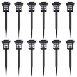Zewnętrzne lampy solarne LED 12 szt. ze szpikulcem 8,6 x 8,6 x 38 cm ze sklepu VidaXL