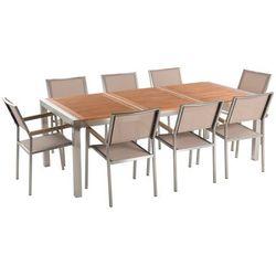 Beliani Zestaw ogrodowy mahoniowy blat 220 cm 8-osobowy beżowe krzesła grosseto (4260586359008)
